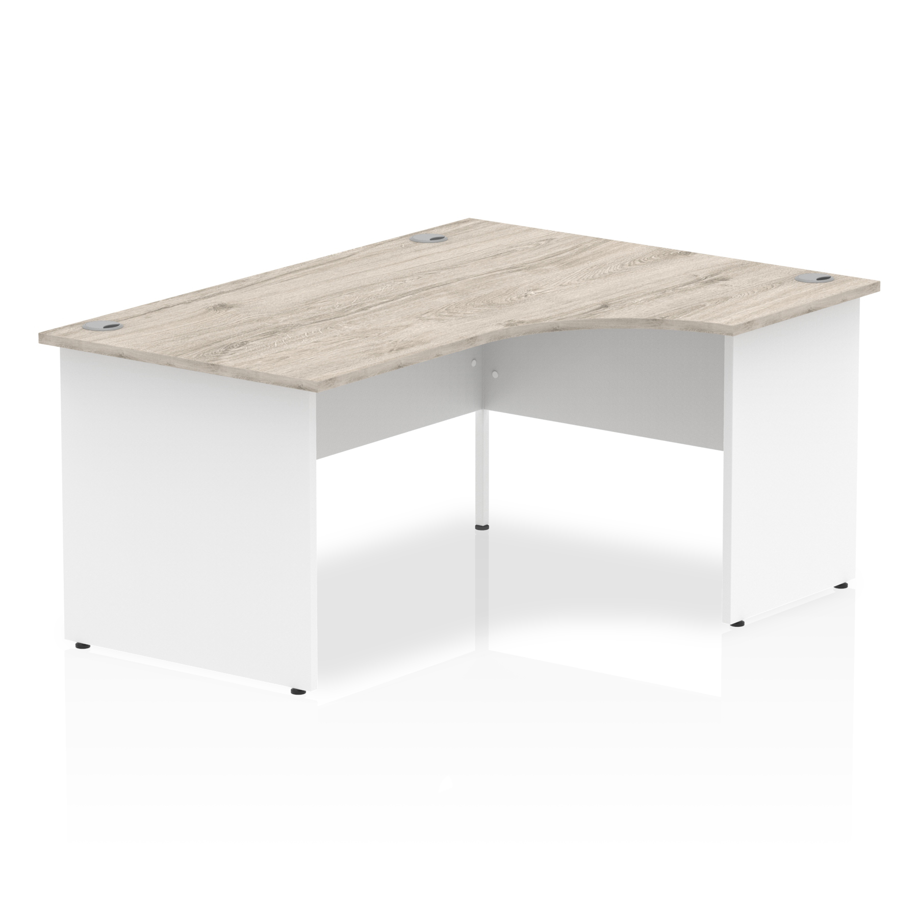Desks Trexus Radial Desk Right Hand Panel End Leg 1600/800mm Grey Oak/White Ref TT000162