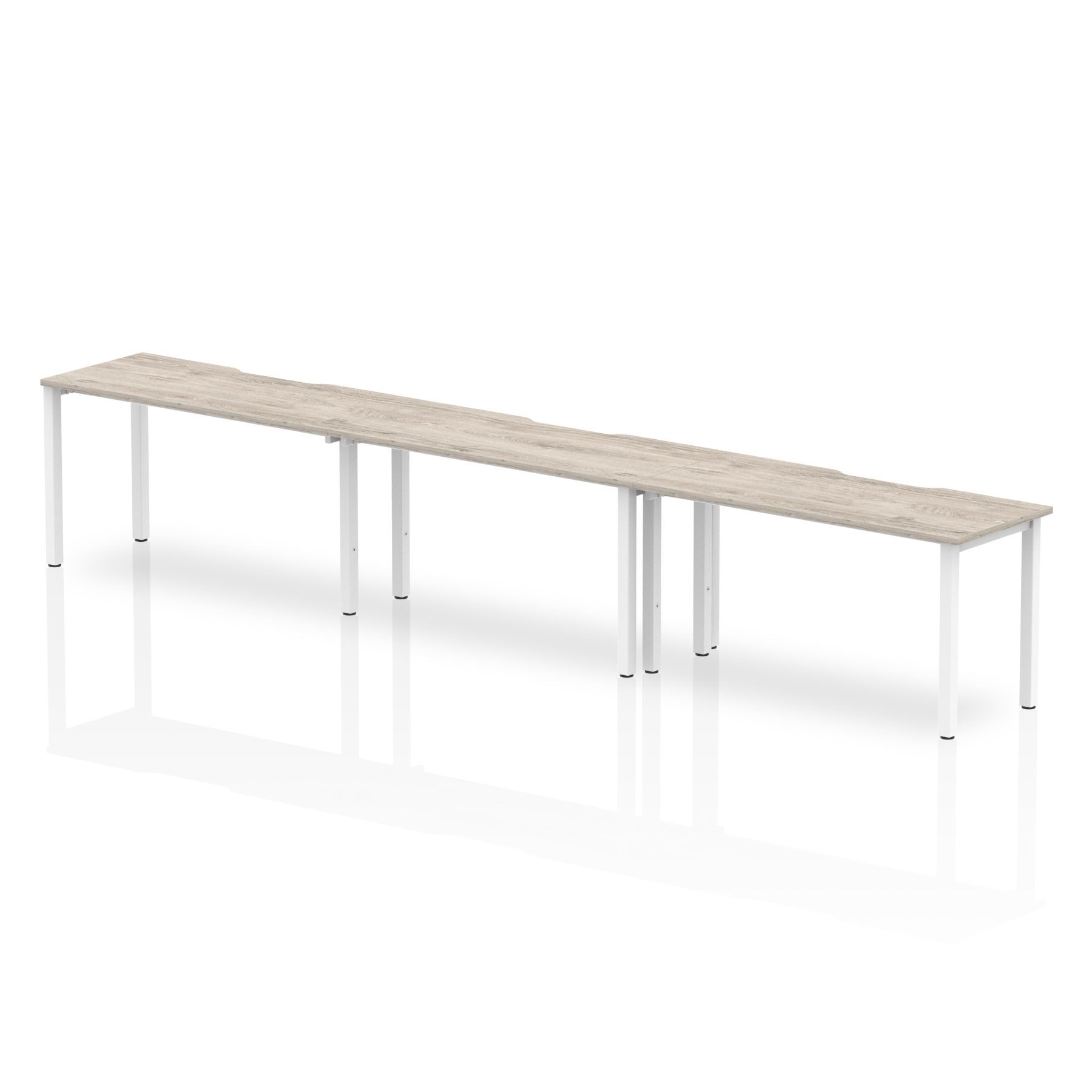 Desks Trexus Bench Desk 3 Person Side to Side Configuration White Leg 4200x800mm Grey Oak Ref BE774