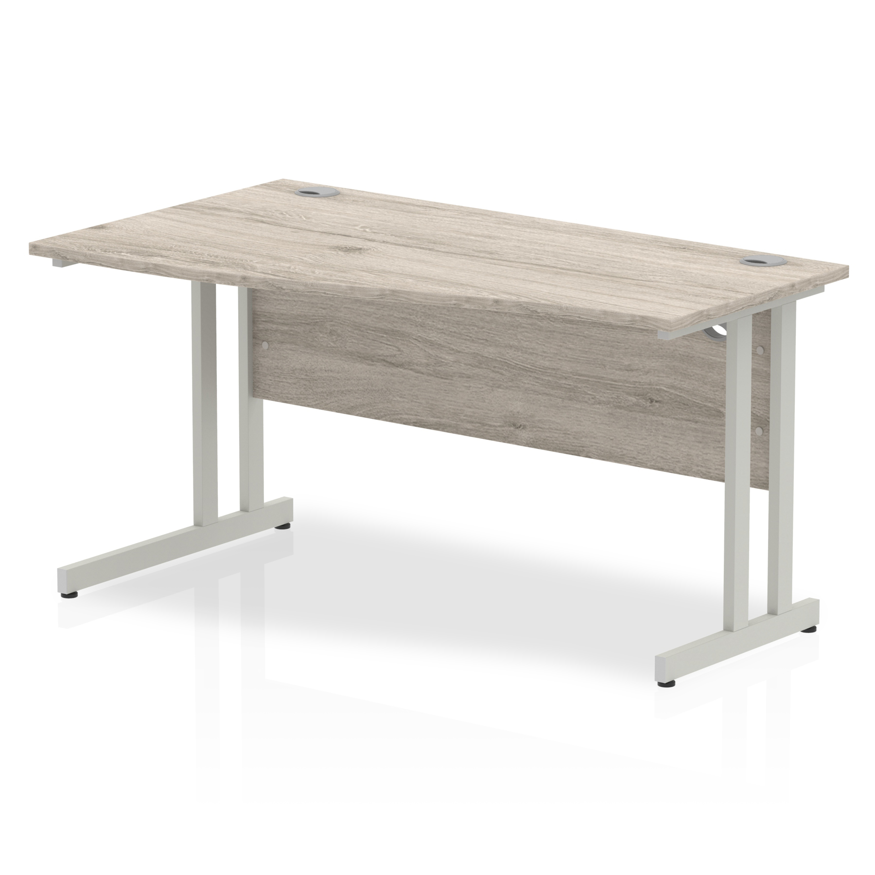 Desks Trexus Wave Desk Left Hand Silver Cantilever Leg 1400mm Grey Oak Ref I003118