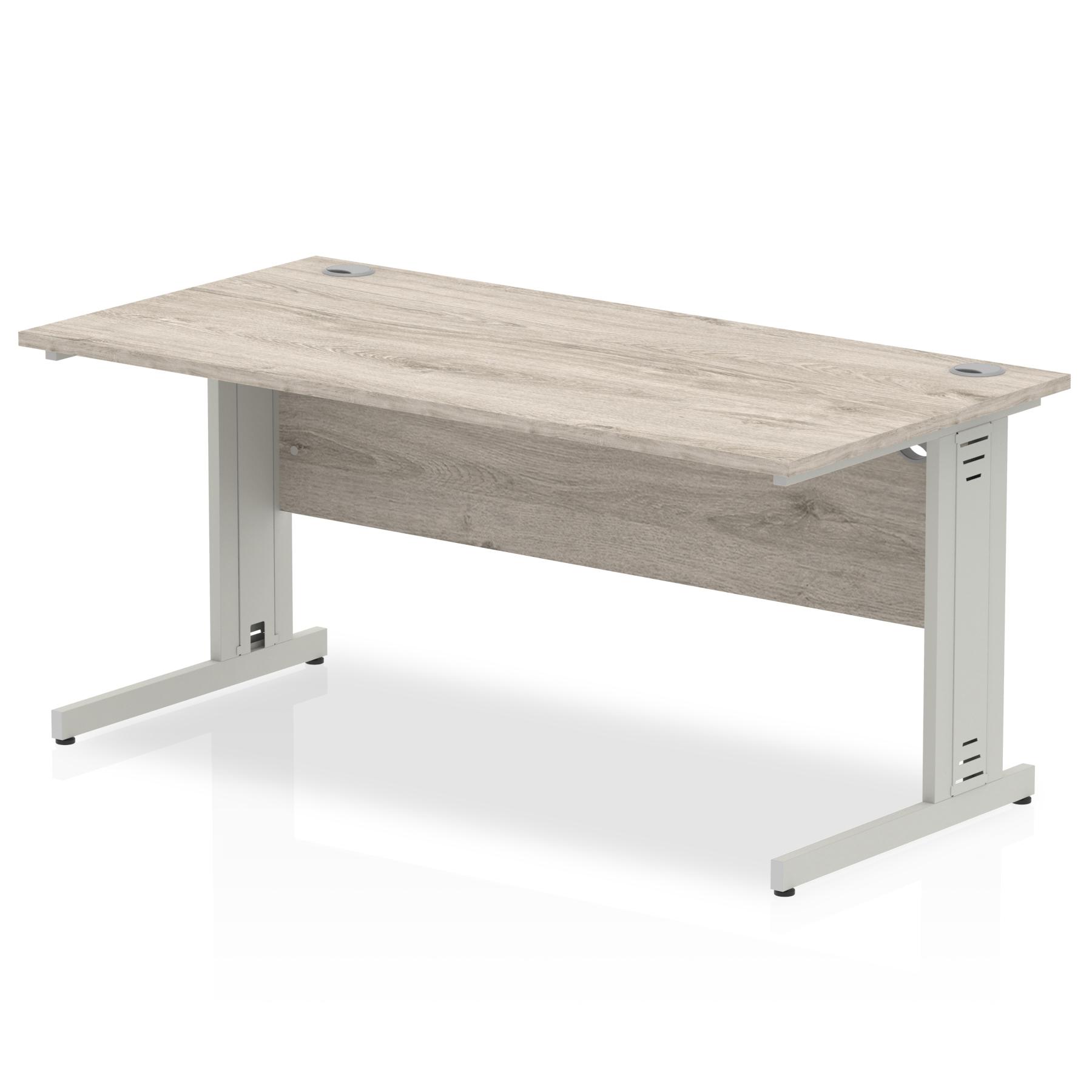 Trexus Rectangular Desk Silver Cable Managed Leg 1600x800mm Grey Oak Ref I003106