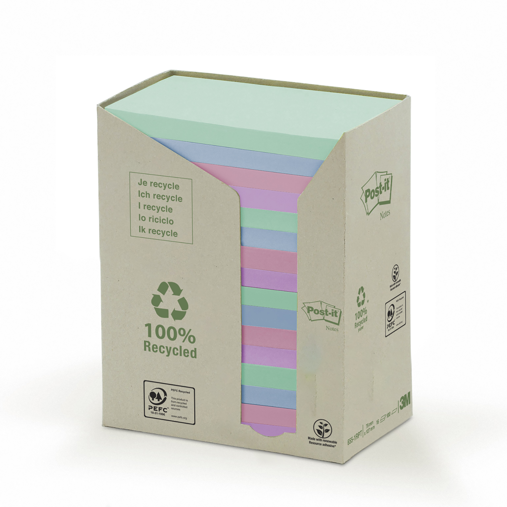Post-it Notes Pad Recycled Tower Pack 76x127mm Pastel Rainbow Ref 655-1RPT Pack 16