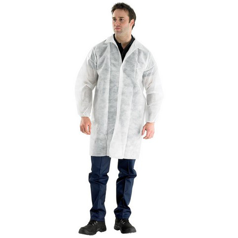 Click Once Polyprop Disposable Visitors Coat Large White Ref PDVCL Pack 50 *Up to 3 Day Leadtime*