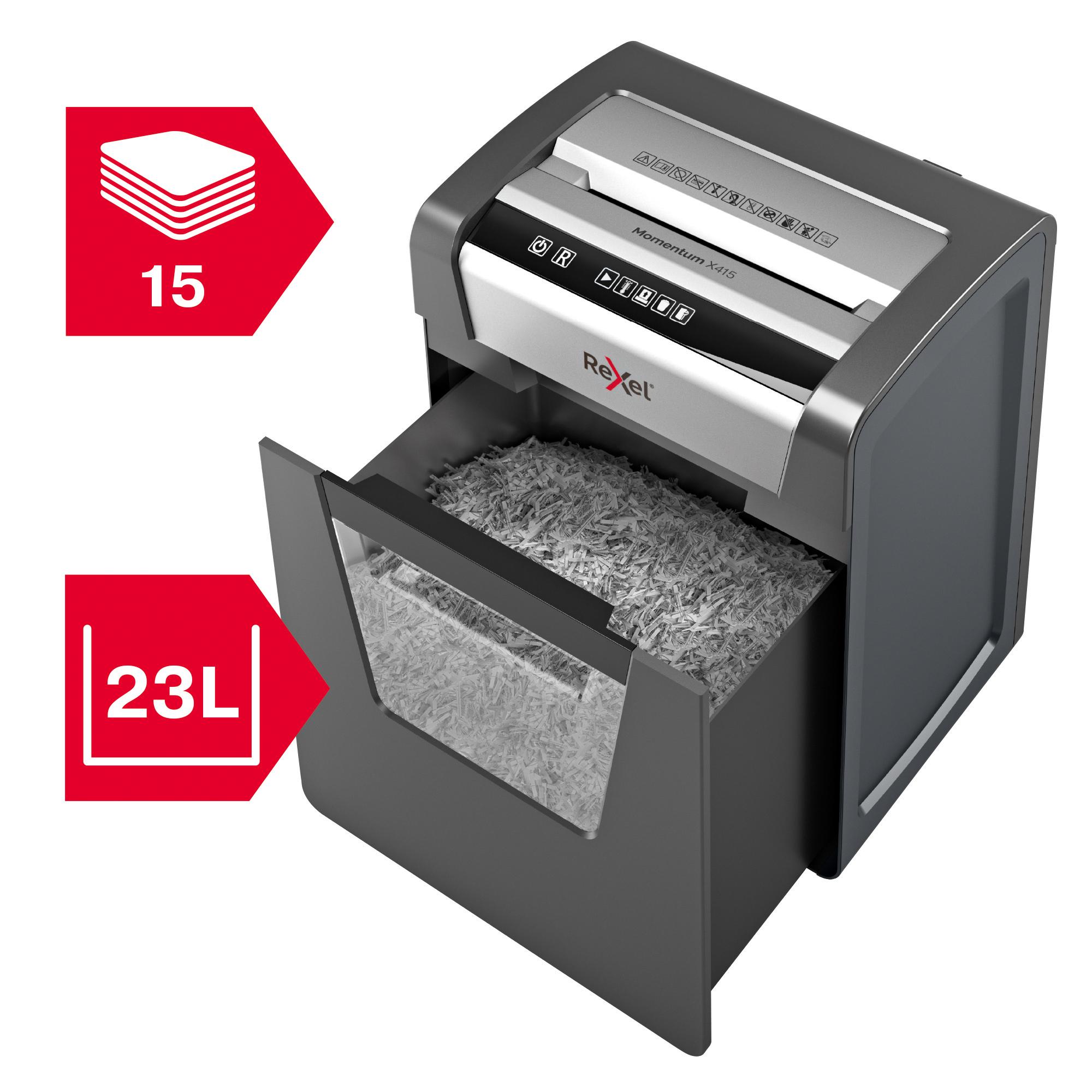 Rexel Momentum X415 CC Paper Shredder P4 Cross Cut 23L Anti-Jamming Ref 2104576 [REDEMPTION] Jul-Sep19