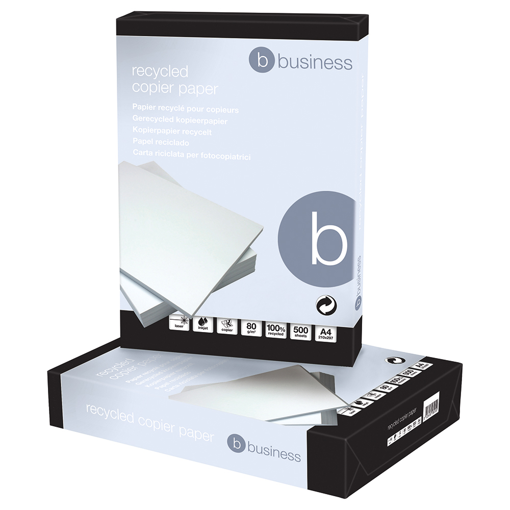 Business Eco Copier Paper Recycled Ream-Wrapped 80gsm A4 Hi White [5 x 500 Sheets]