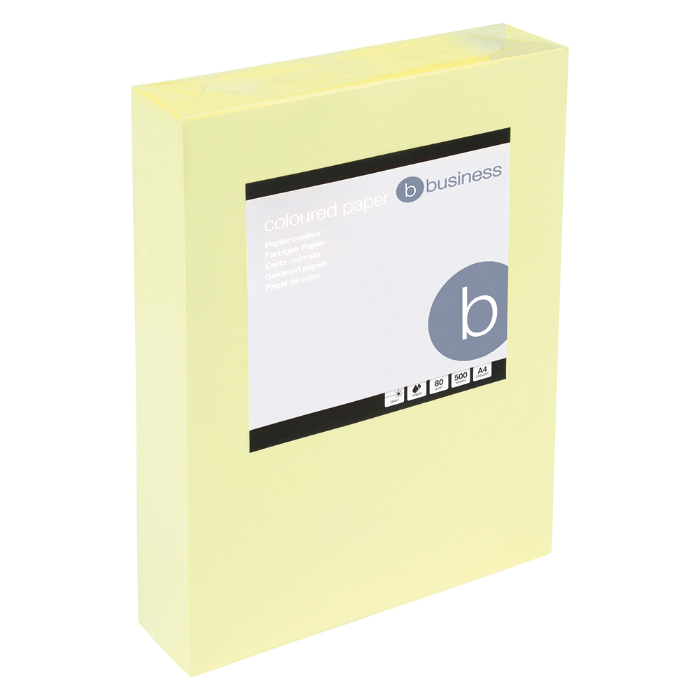 Business Coloured Copier Paper Multifunctional Ream-Wrapped 80gsm A4 Light Yellow [500 Sheets]