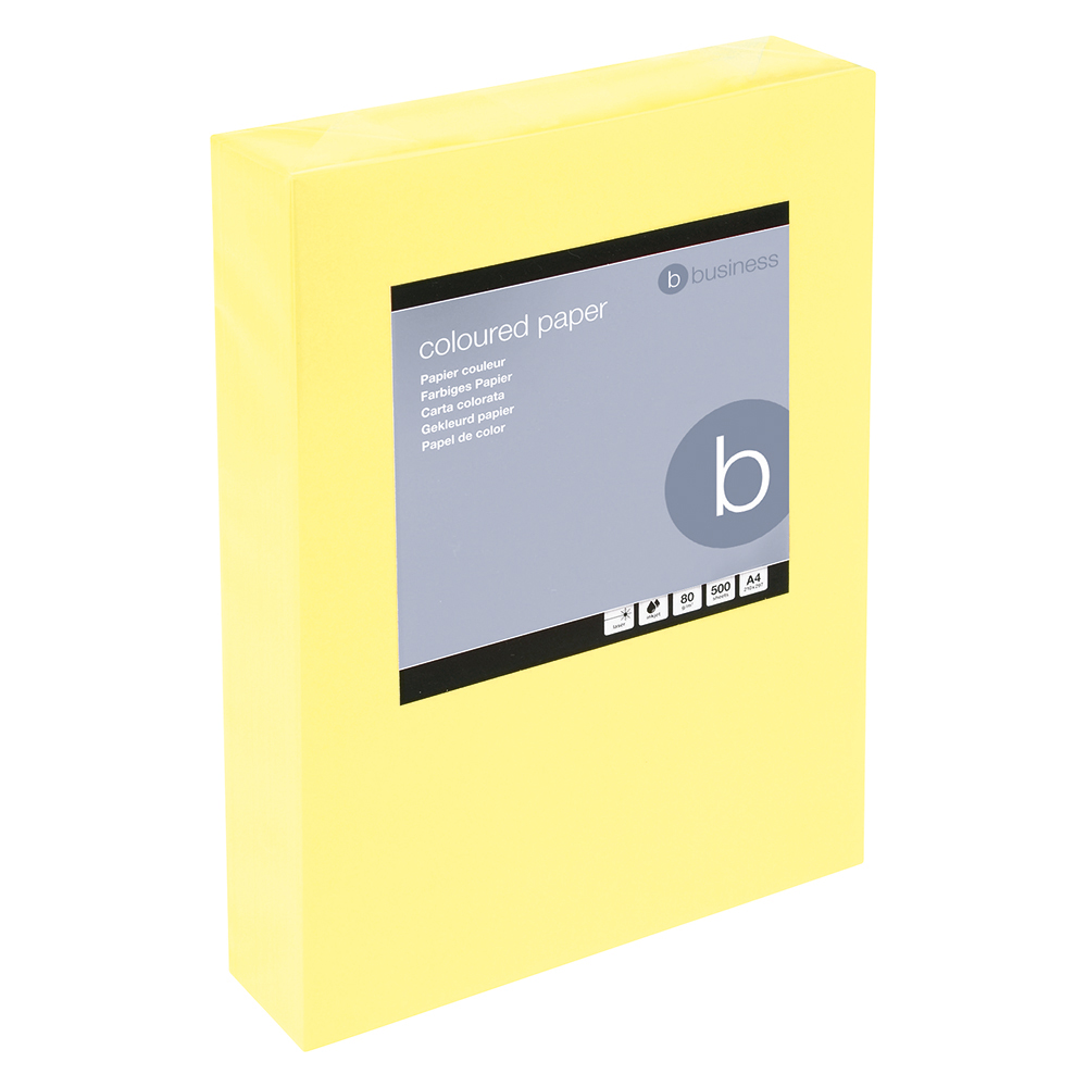 Business Coloured Copier Paper Multifunctional Ream-Wrapped 80gsm A4 Medium Yellow [500 Sheets]