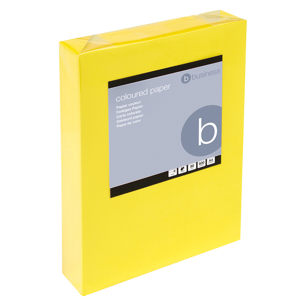 Business Coloured Copier Paper Multifunctional Ream-Wrapped 80gsm A4 Deep Yellow [500 Sheets]