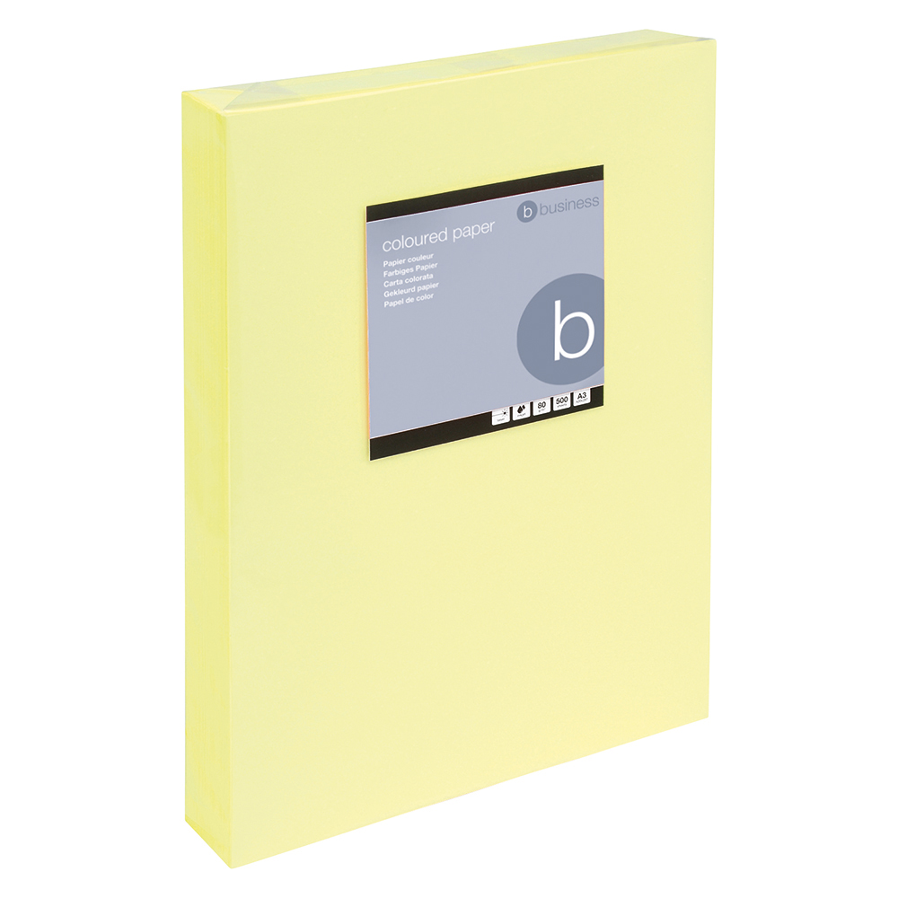 Business Coloured Copier Paper Multifunctional Ream-Wrapped 80gsm A3 Light Yellow [500 Sheets]