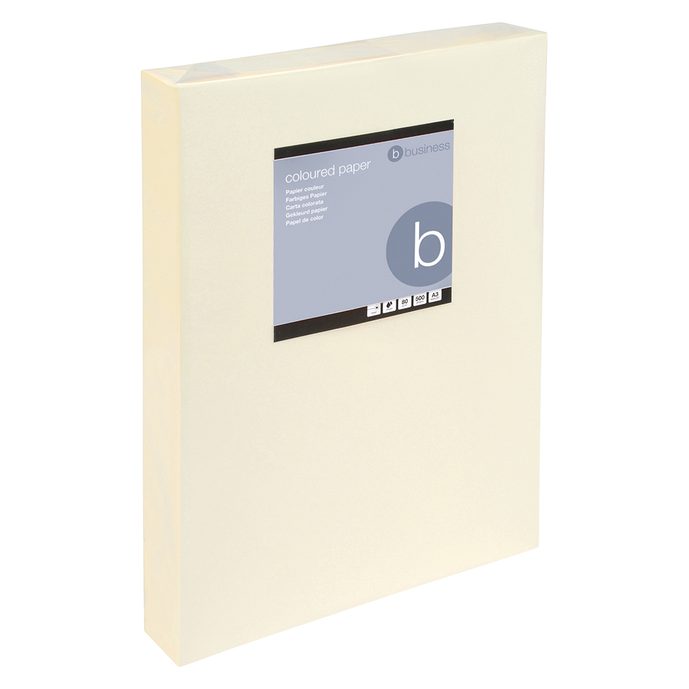 Business Coloured Copier Paper Multifunctional Ream-Wrapped 80gsm A3 Light Cream [500 Sheets]
