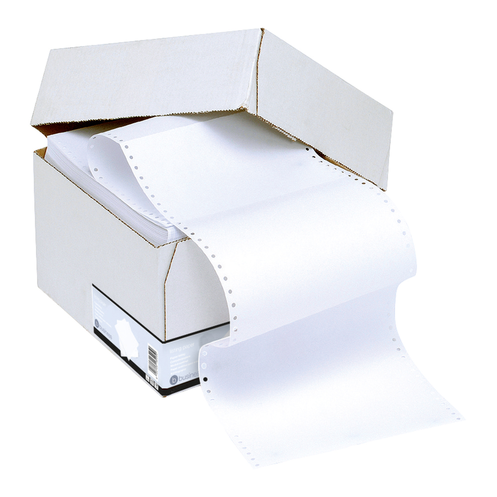 Business Listing Paper Carbonless Perforated 55/55gsm 11inchx241mm Plain White/White [1000 Sheets]