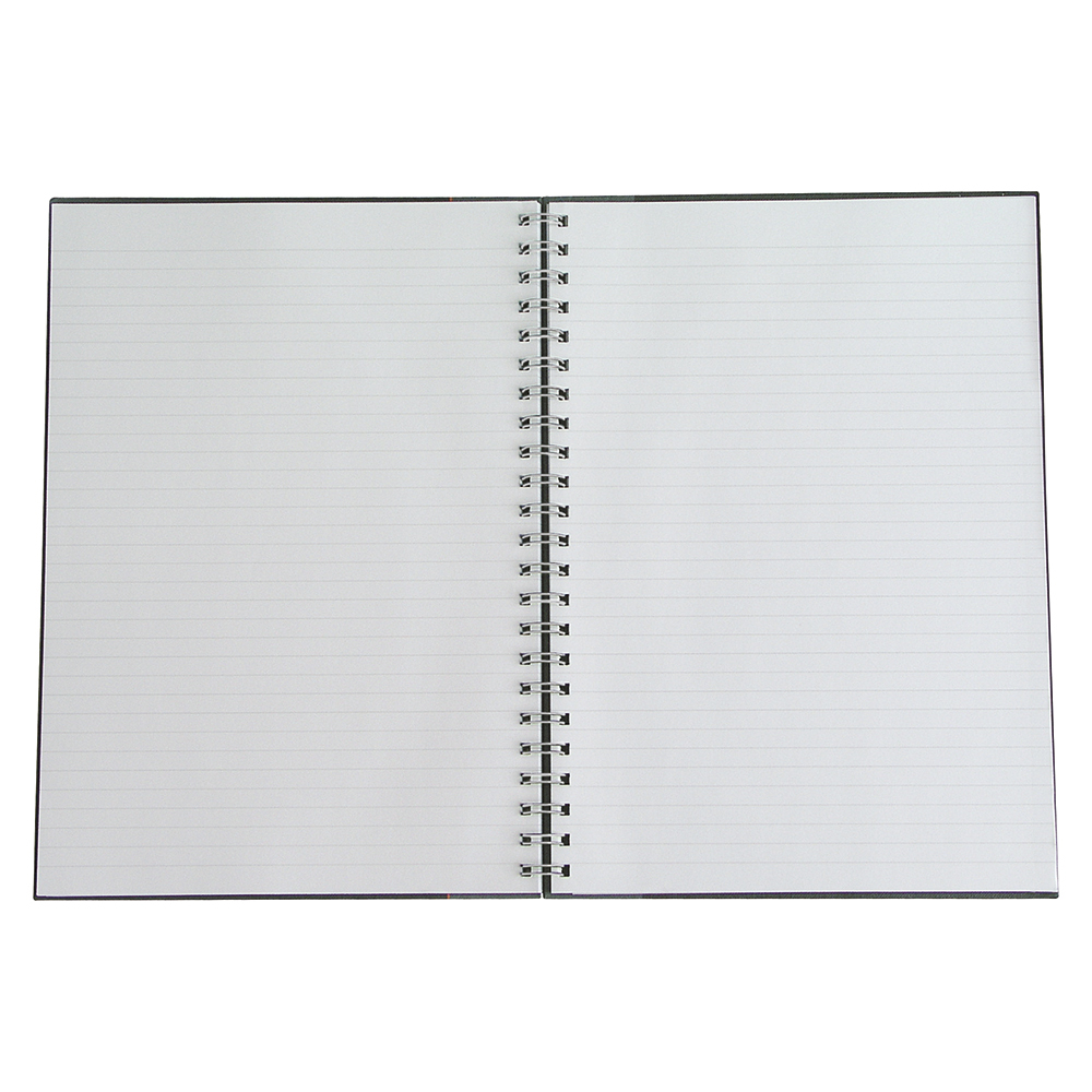 Business Notebook Wirebound Hard Cover Ruled 80gsm A5 Black [Pack 5]