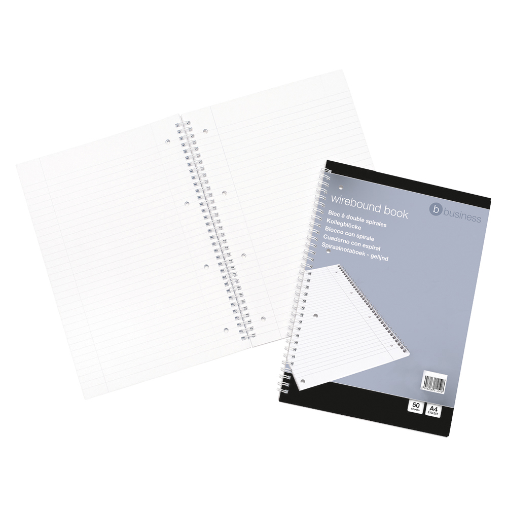 Business Notebook Wirebound Ruled and Margin Perforated 100 Pages A4 [Pack 10]