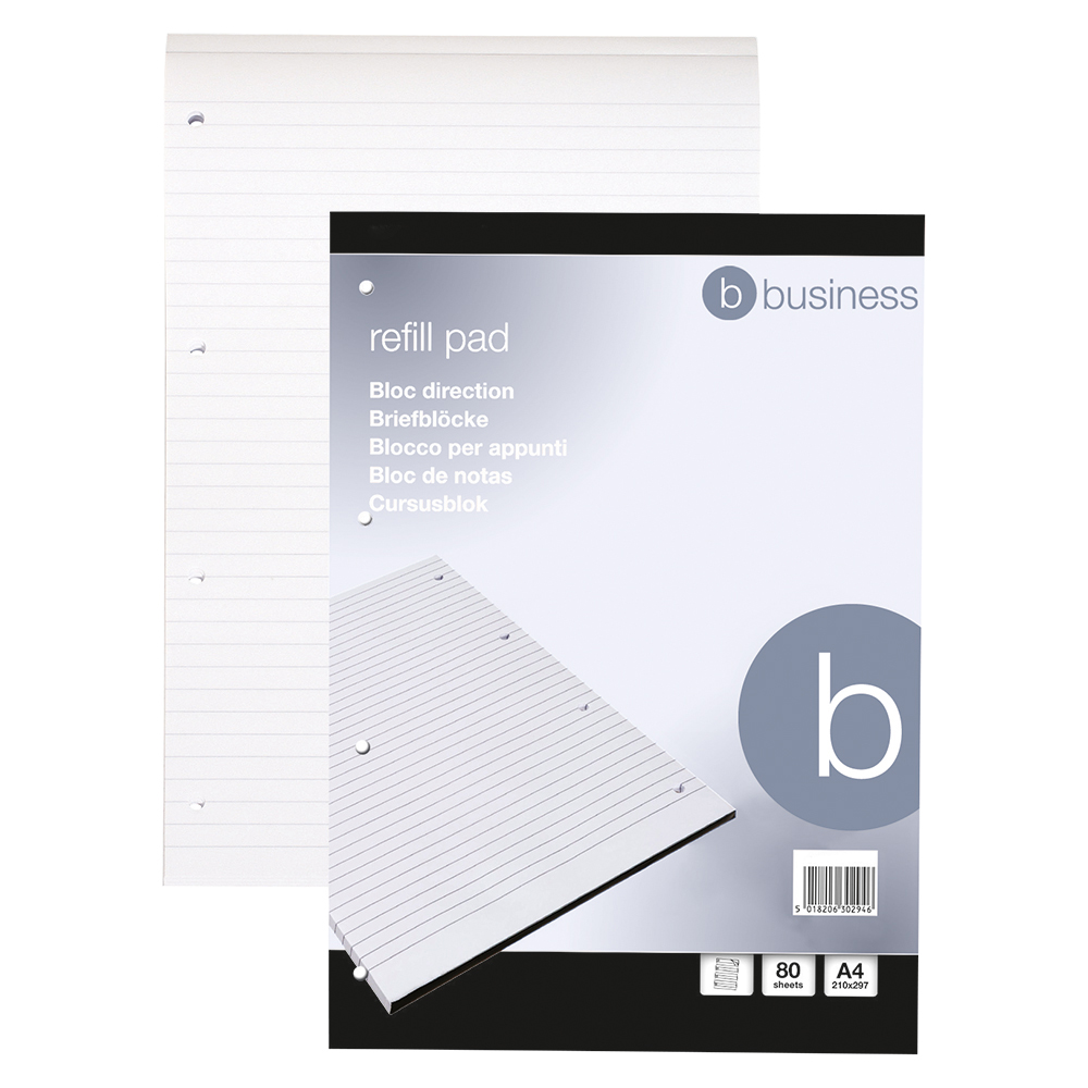 Business Refill Pad Headbound Feint Ruled 4-Hole Punched 80 Sheets A4 [Pack 10]