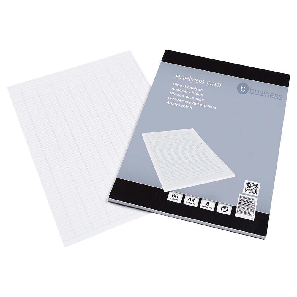 5 Star Office Analysis Pad Ruled 70gsm 8 Cash Column 80 Leaf A4