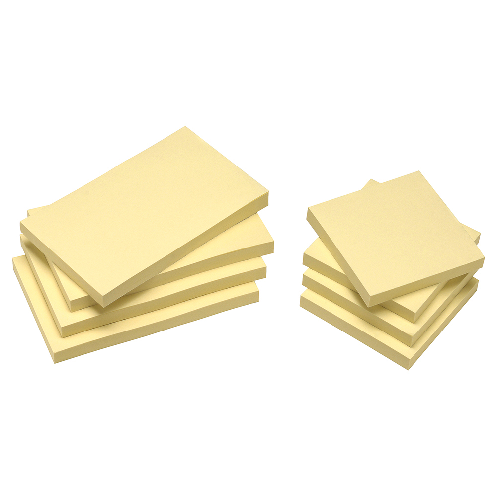 Business Eco Re-Move Recycled Notes Repositionable Pad of 100 Sheets 76x127mm Yellow [Pack 12]
