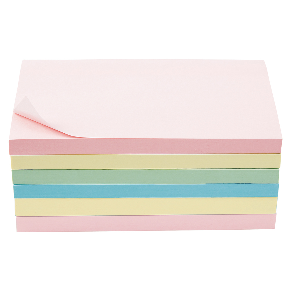 Business Extra Sticky Re-Move Notes Pad of 90 Sheets 76x127mm 4 Assorted Pastel Colours [Pack 6]