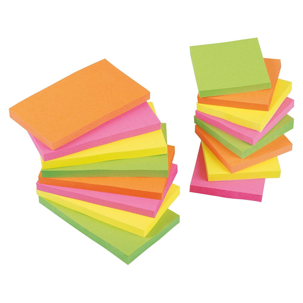 Business Re-Move Notes Repositionable Neon Pad of 100 Sheets 76x127mm Assorted [Pack 12]