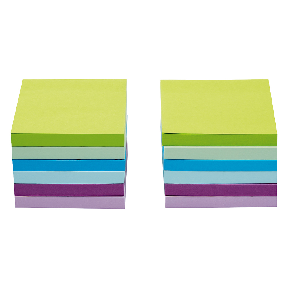 Business Re-Move Sticky Notes 76x76mm 6 Neon/Pastel Colours 100 Sheets per Pad [Pack of 12]