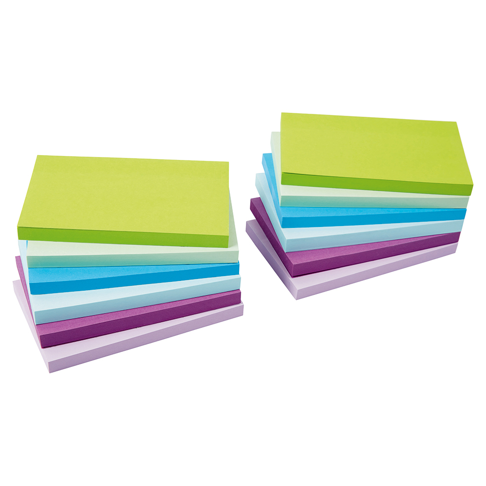 Business Re-Move Sticky Notes 76x127mm 6 Neon/Pastel Colours 100 Sheets per Pad [Pack of 12]