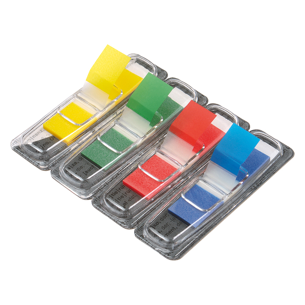 Business Index Flags 4 Bright Colours 12x45mm 35 Flags per Colour Assorted [Pack 5]