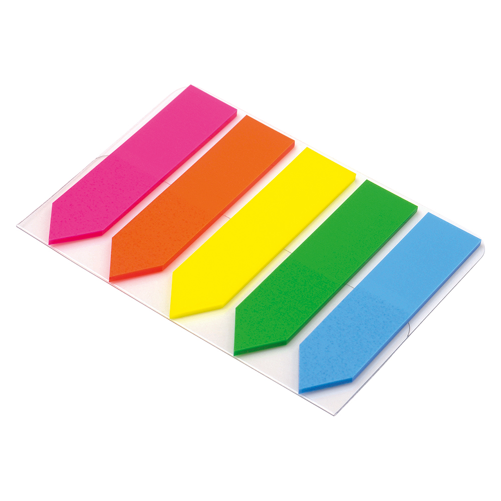 Business Index Arrow 5 Bright Colours 12.5x50mm 5 Packs of 20 Flags [100 Flags]