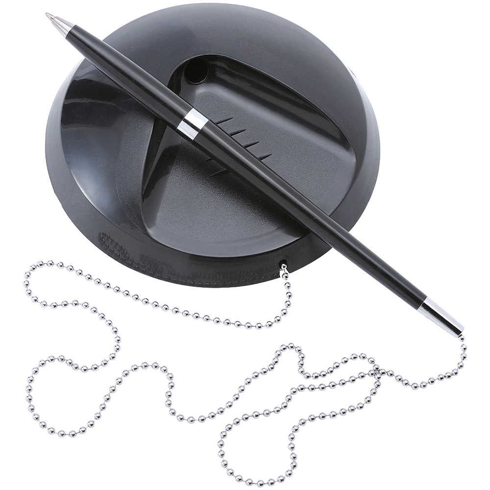 Business Desk Ball Pen Chained to Base 1.0mm Tip 0.5mm Line Black