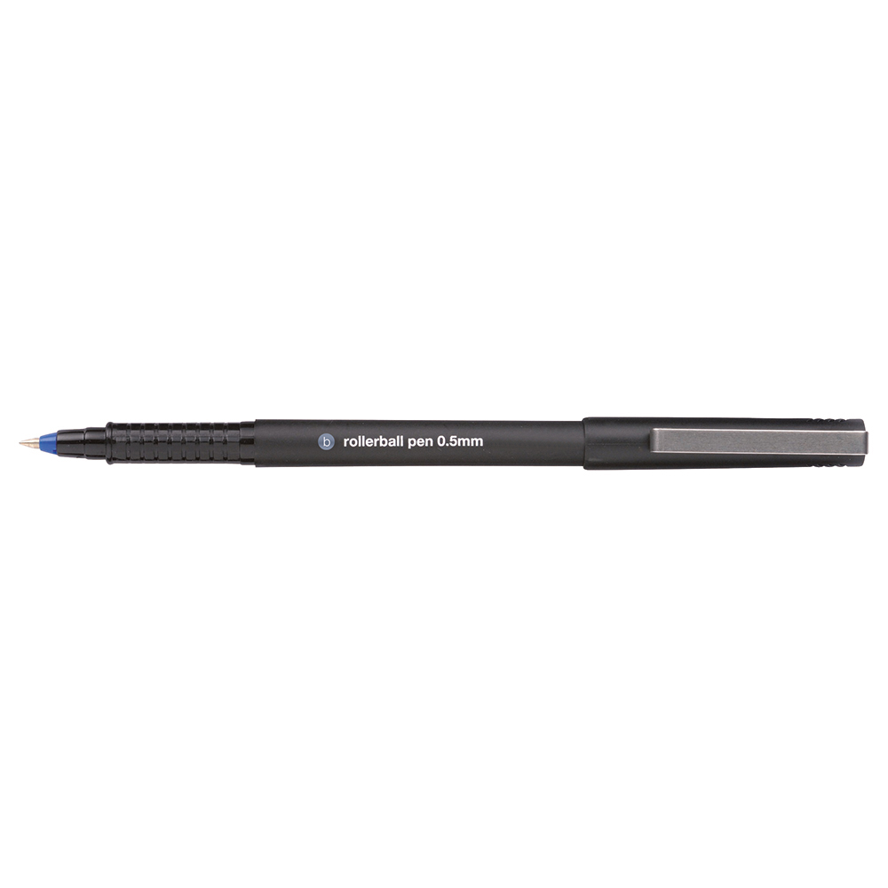 Business Rollerball Pen Fine 0.5mm Tip 0.3mm Line Blue [Pack 12]