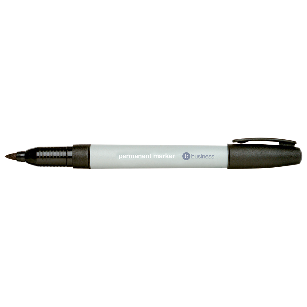 Business Permanent Marker Fine 0.8mm Line Black [Pack 10]