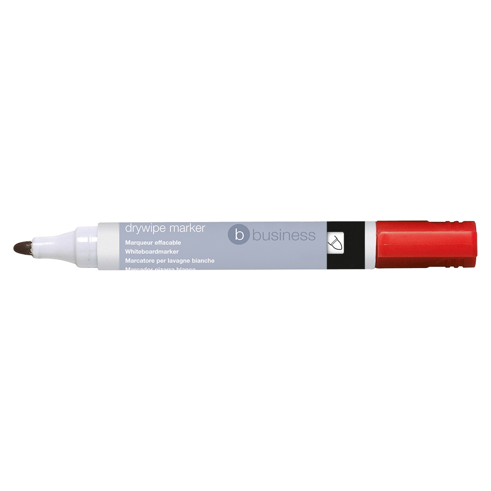 Business Drywipe Marker Xylene/Toluene-free Bullet Tip 3mm Line Red [Pack 12]