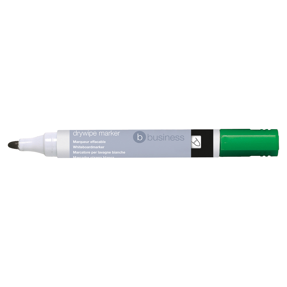 Business Drywipe Marker Xylene/Toluene-free Bullet Tip 3mm Line Green [Pack 12]