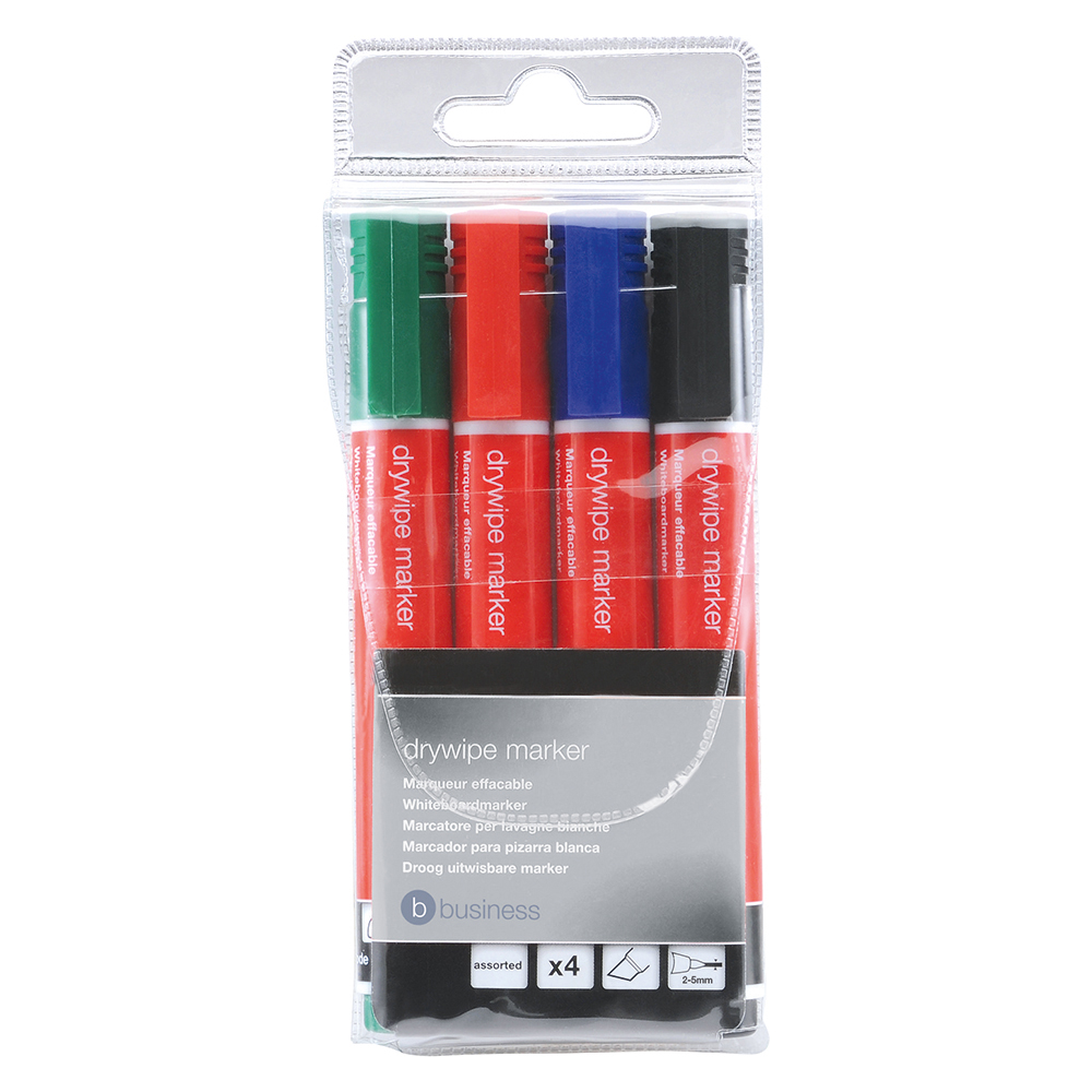 Business Drywipe Marker Xylene/Toluene-free Chisel Tip 2-5mm Line Assorted [Wallet 4]