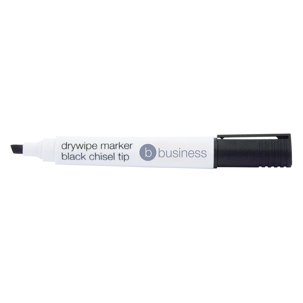 Business Eco Drywipe Marker Chisel Tip 2-5mm Line Black [Pack 10]