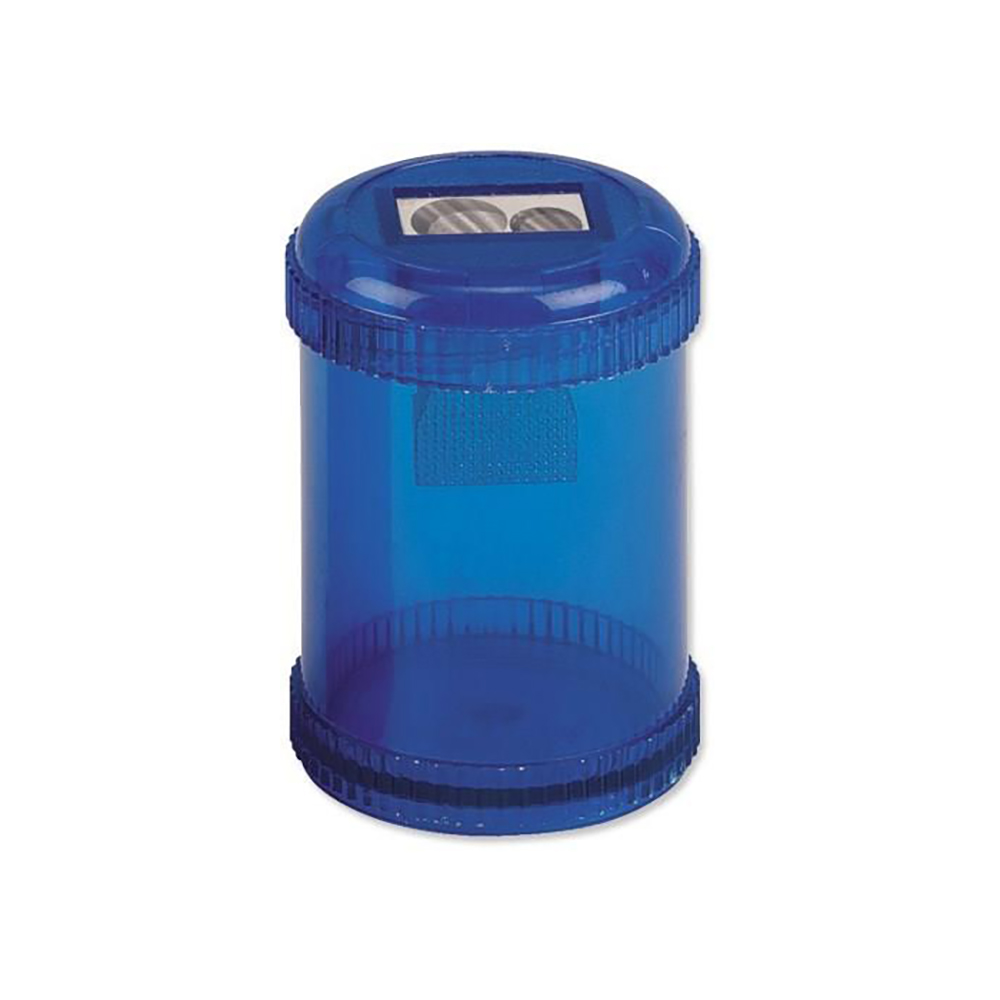 Business Pencil Sharpener Plastic Canister Max. Diameter 8mm Double Hole Coloured [Pack 10]