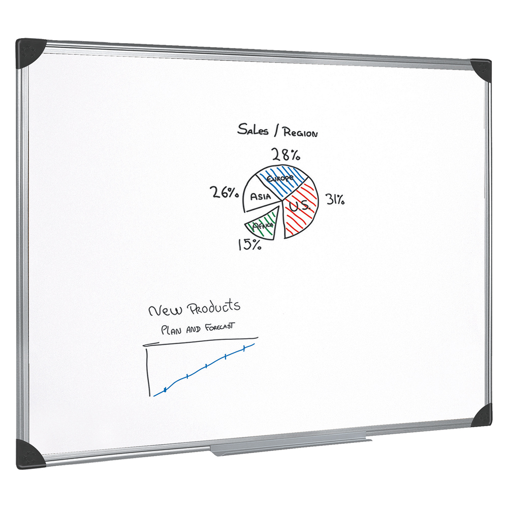 Business Whiteboard Drywipe Magnetic with Pen Tray and Aluminium Trim W1800xH1200mm