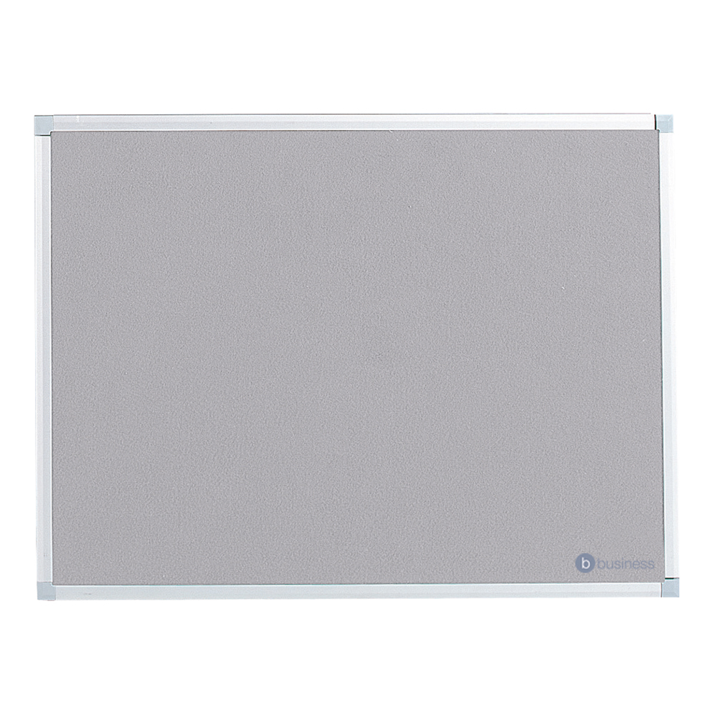 Business Felt Noticeboard with Fixings and Aluminium Trim W900xH600mm Grey