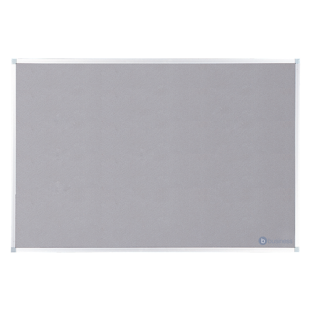 Business Felt Noticeboard with Fixings and Aluminium Trim W1200xH900mm Grey