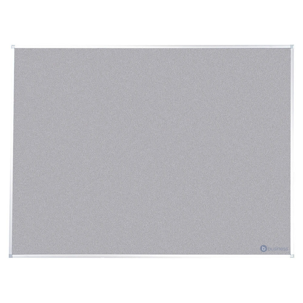 Business Felt Noticeboard with Fixings and Aluminium Trim W1800xH1200mm Grey
