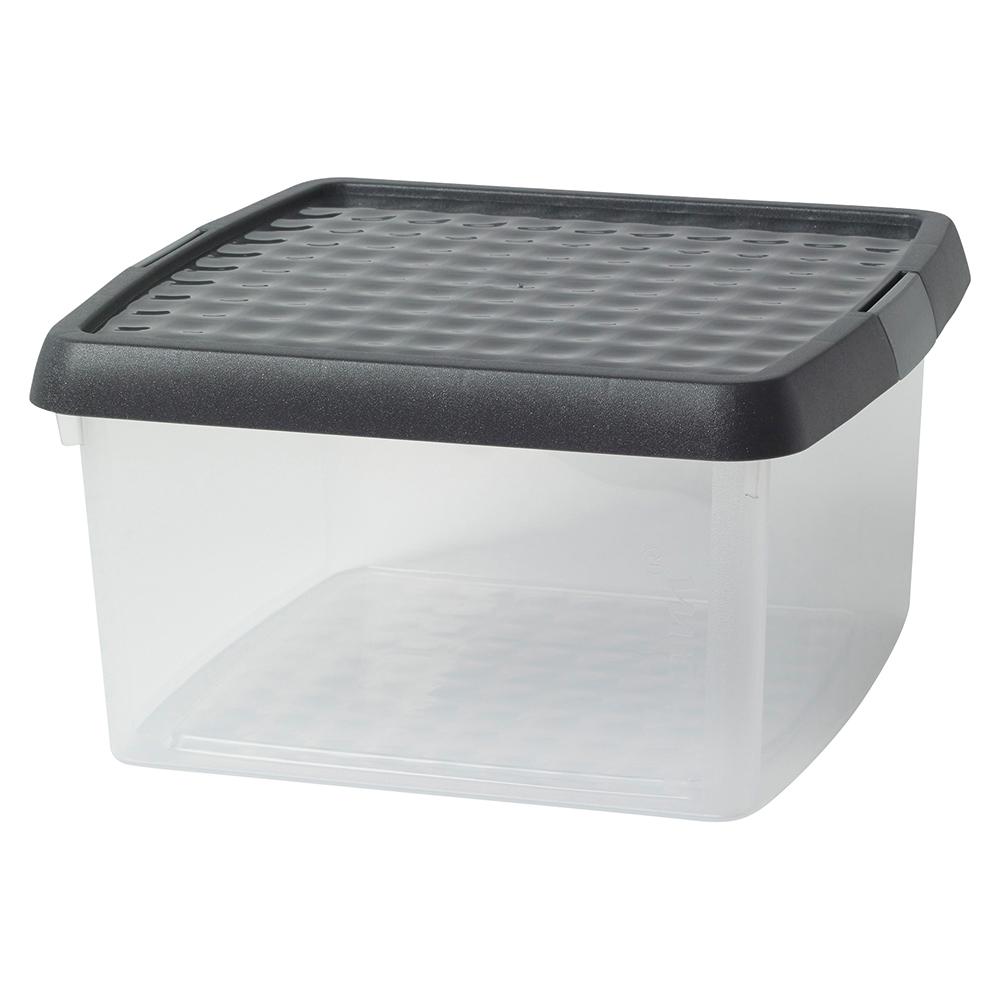 Business Premium Storage Clip Box Plastic Stackable with Lid 9 Litre Clear