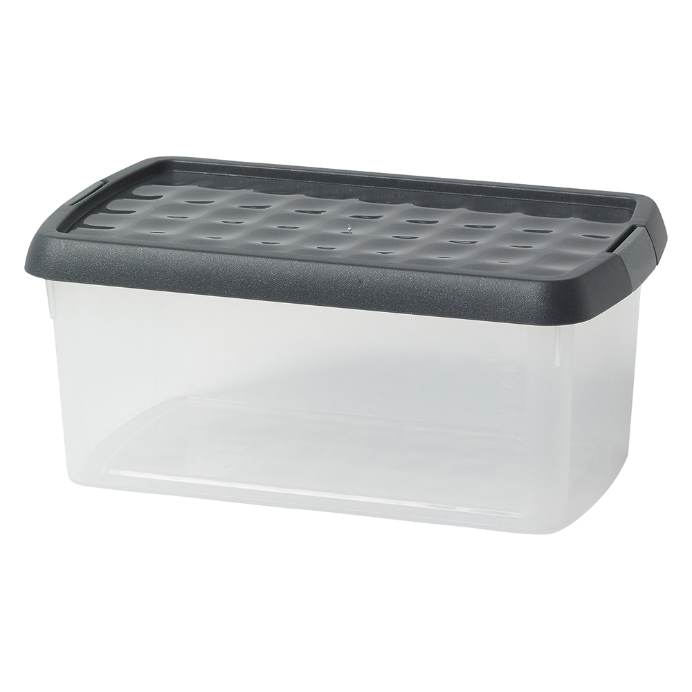 Business Premium Storage Clip Box Plastic Stackable with Lid 2.5 Litre Clear