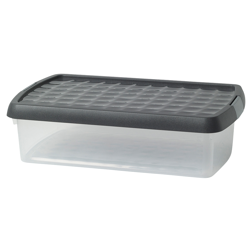 Business Premium Storage Clip Box Plastic Stackable with Lid 7 Litre Clear