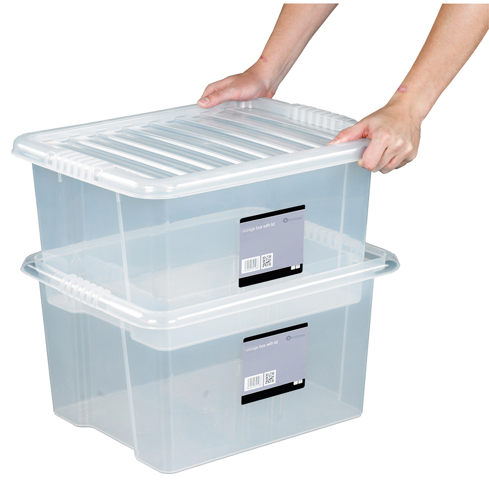 Business Storage Box Plastic with Lid Stackable 35 Litre Clear