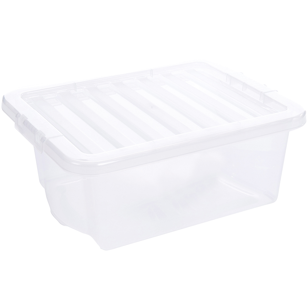 Business Storage Box Plastic with Lid Stackable 16 Litre Clear