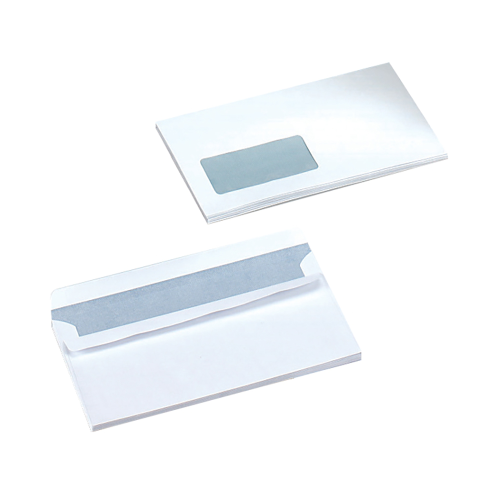 Business Envelopes Wallet Self Seal Window 90gsm White DL [Pack 500]