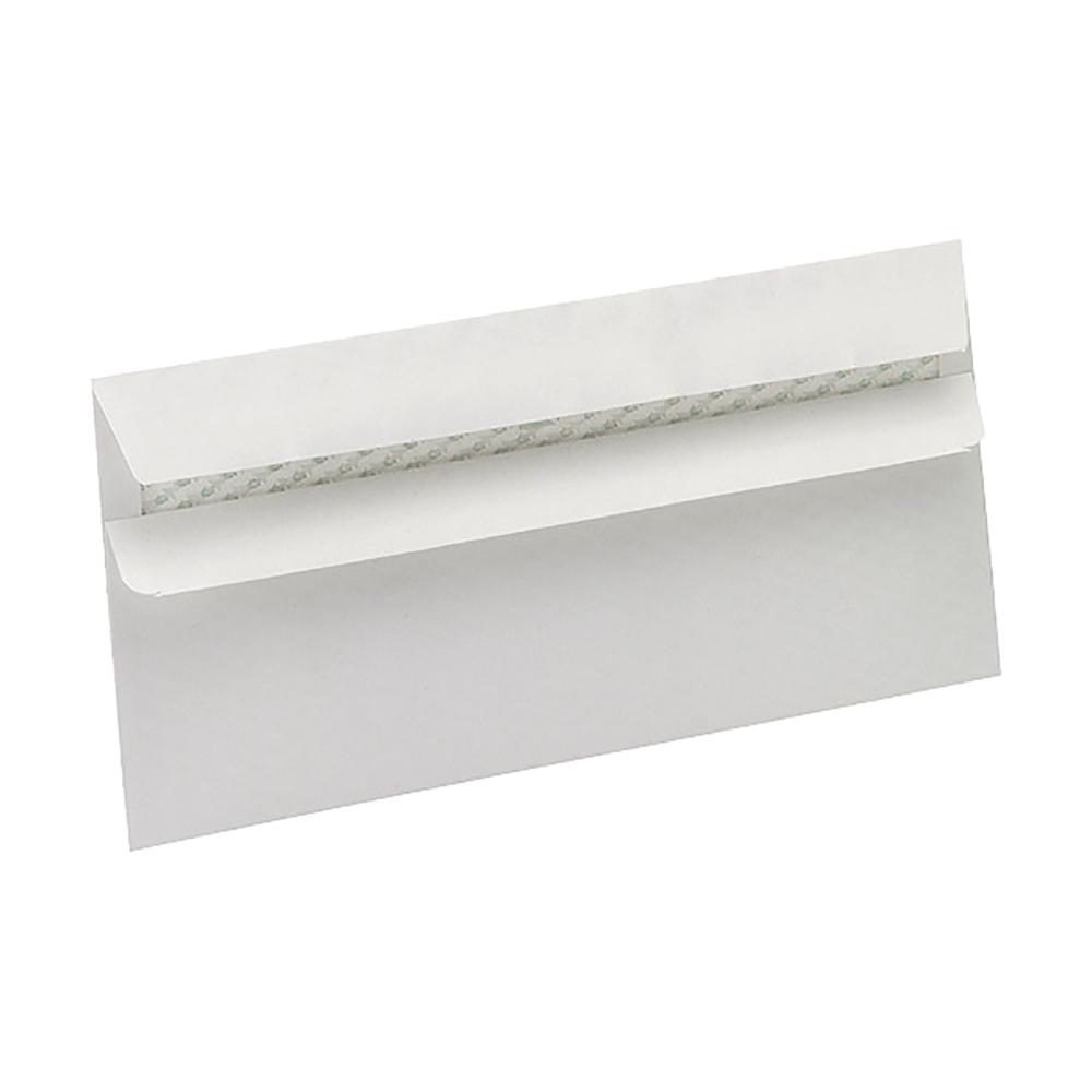 Business Eco Envelopes Recycled Wallet Self Seal Window 90gsm White DL [Pack 500]