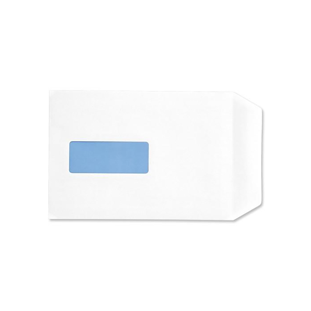 Business Eco Envelopes Recycled Pocket Self Seal Window 90gsm White C5 [Pack 500]