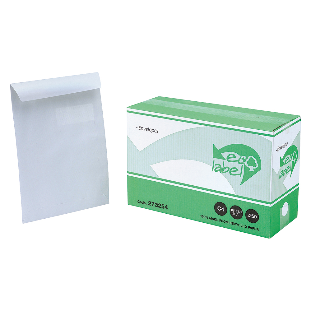 Business Eco Envelopes Recycled Pocket Self Seal Window 90gsm White C4 [Pack 250]