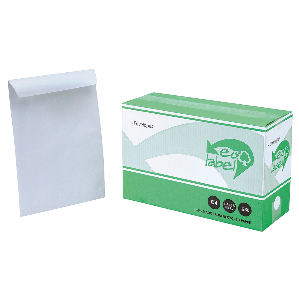 Business Eco Envelopes Recycled Pocket Self Seal 90gsm White C4 [Pack 250]