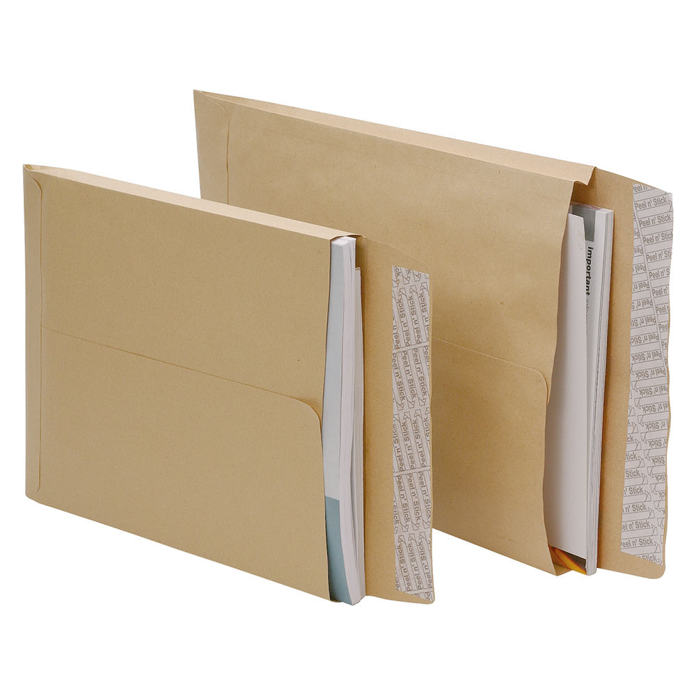 Business Envelopes Gusset 25mm Peel and Seal 115gsm Manilla C4 [Pack 125]