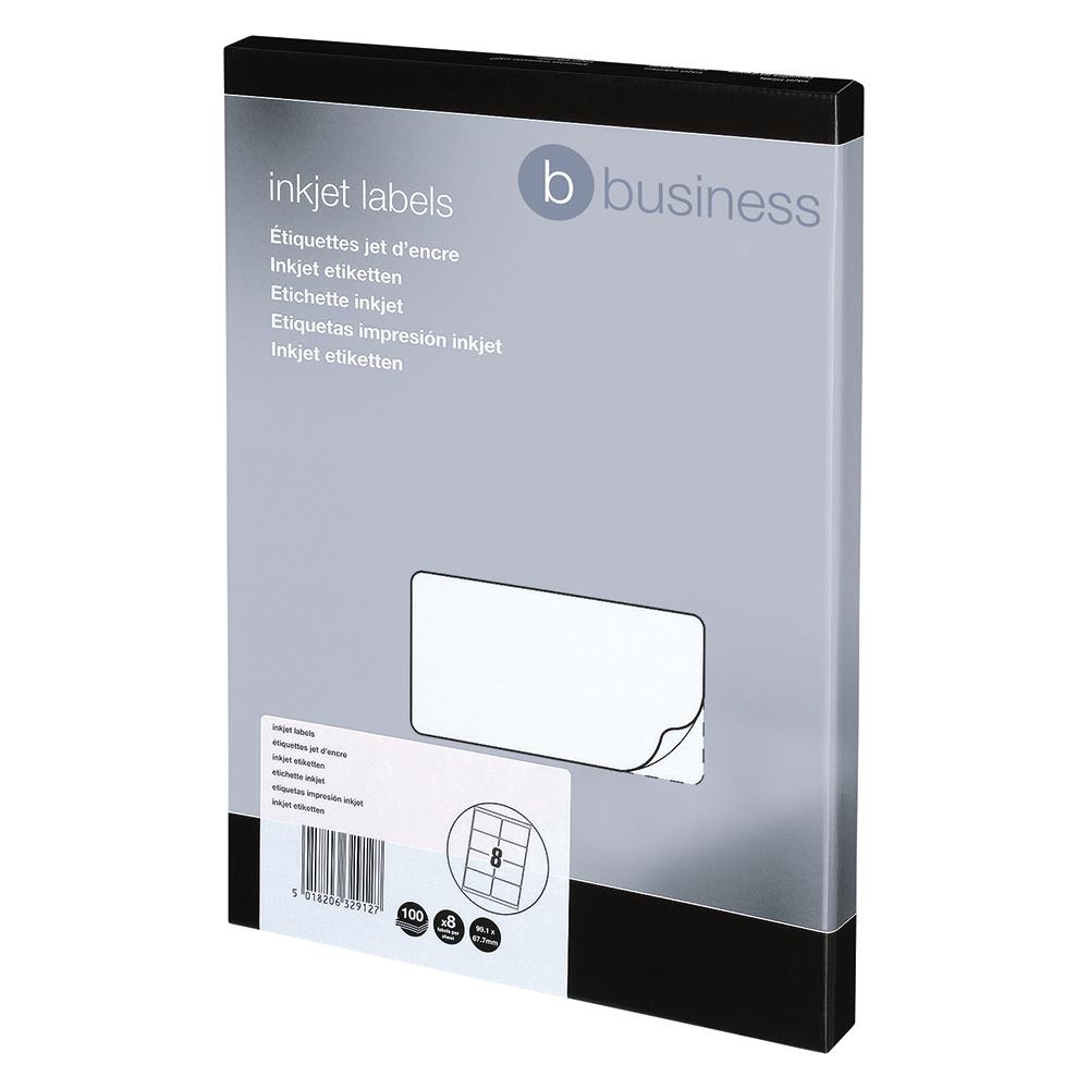 Business Addressing Labels Inkjet 8 per Sheet 99.1x67.7mm White [800 Labels]