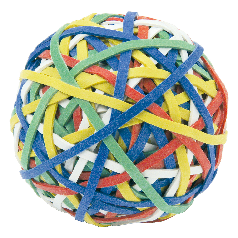 Business Rubber Band Ball of 200 Bands Natural Rubber Assorted